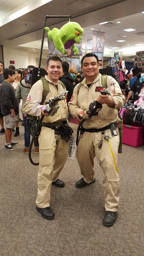 ene Ayala and Rey Banda cosplaying characters from Ghostbusters.