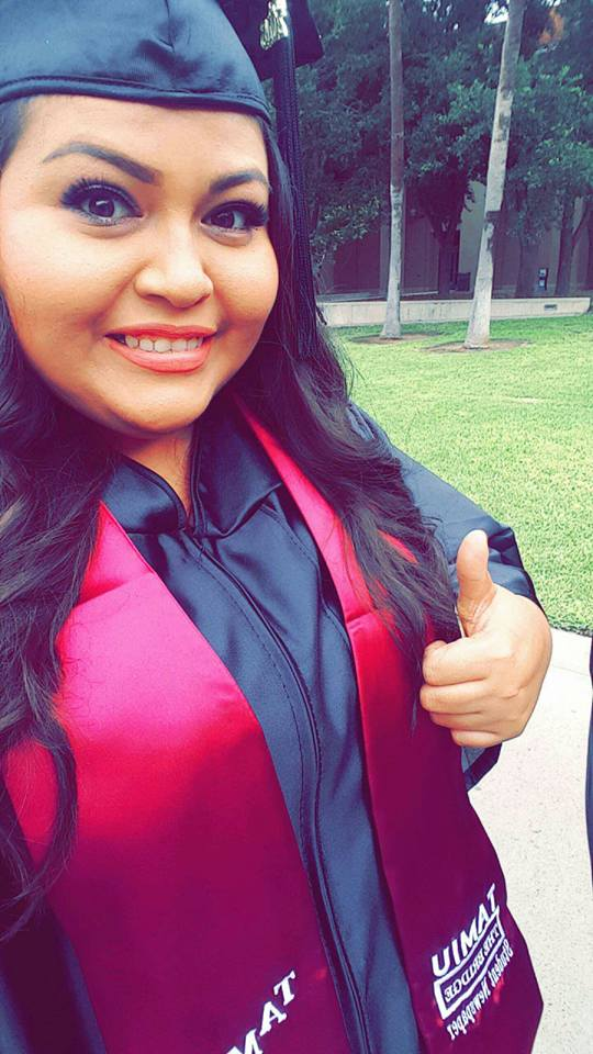 Iris Vasquez Guerrero, former Senior Reporter for The Bridge News, pictured shortly before the COAS commencement ceremony. Photo courtesy of Iris Vasquez Guerrero.