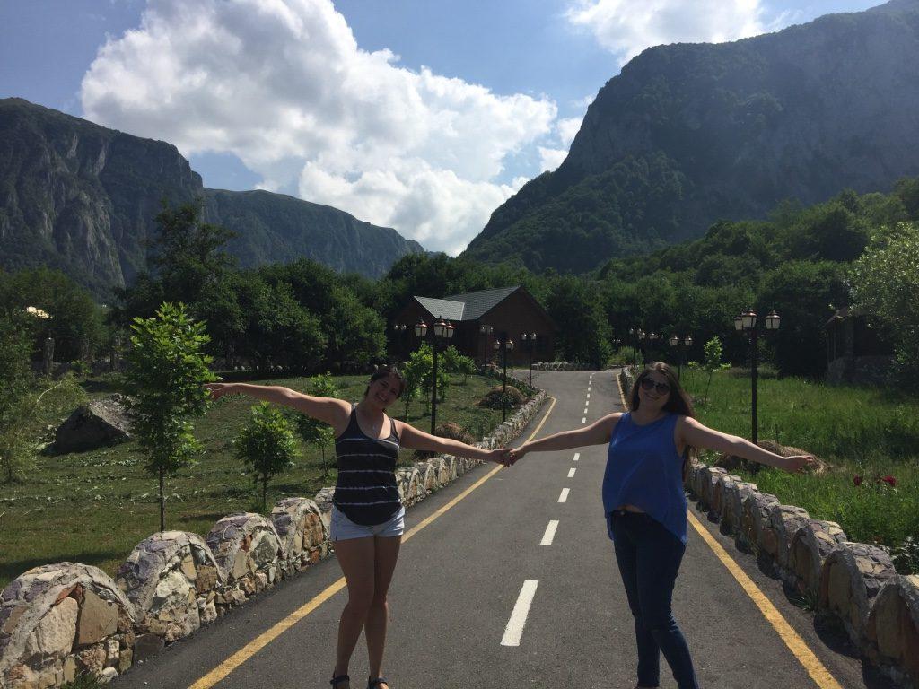 With friend Leyla Mammal-Sadikhzadeh - Caucasus Mountains in the background. | Photo by Osiris Escamilla