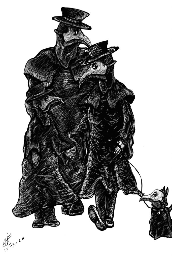 Illustration of family of plague doctors