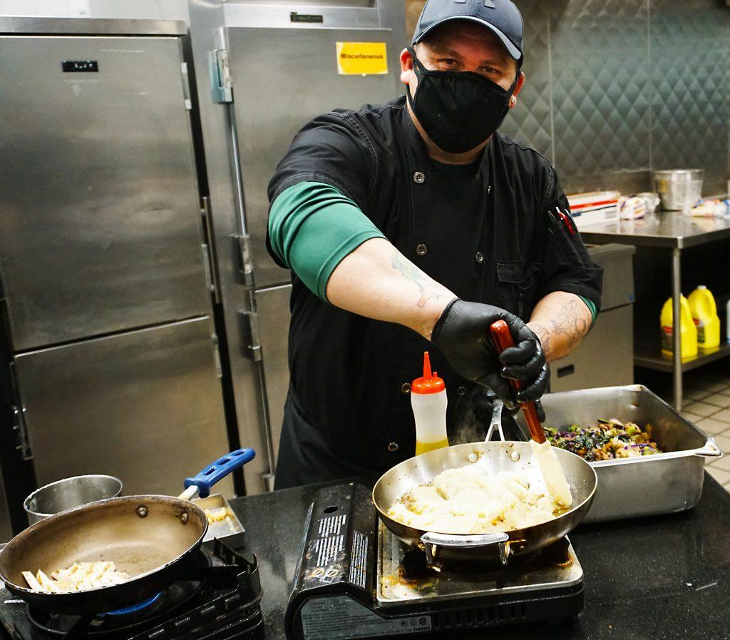 Chef Rameriez cooks cauliflower steak