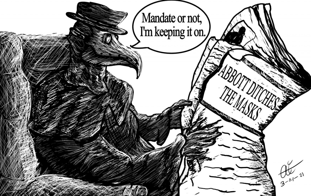 March Illustration of plague doctor reading news of Gov. Abbott's unmasking of the state