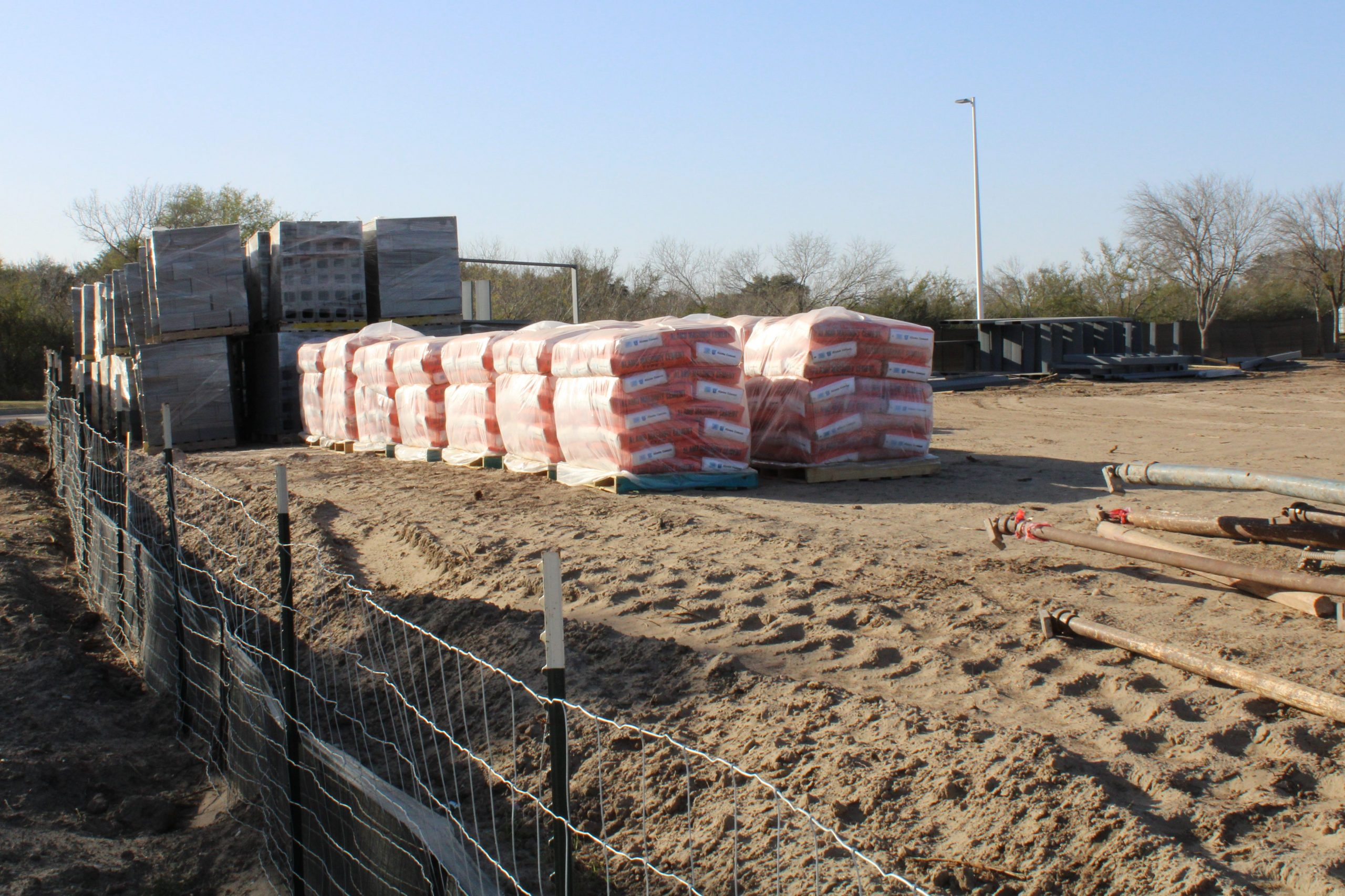 construction materials for the tennis courts