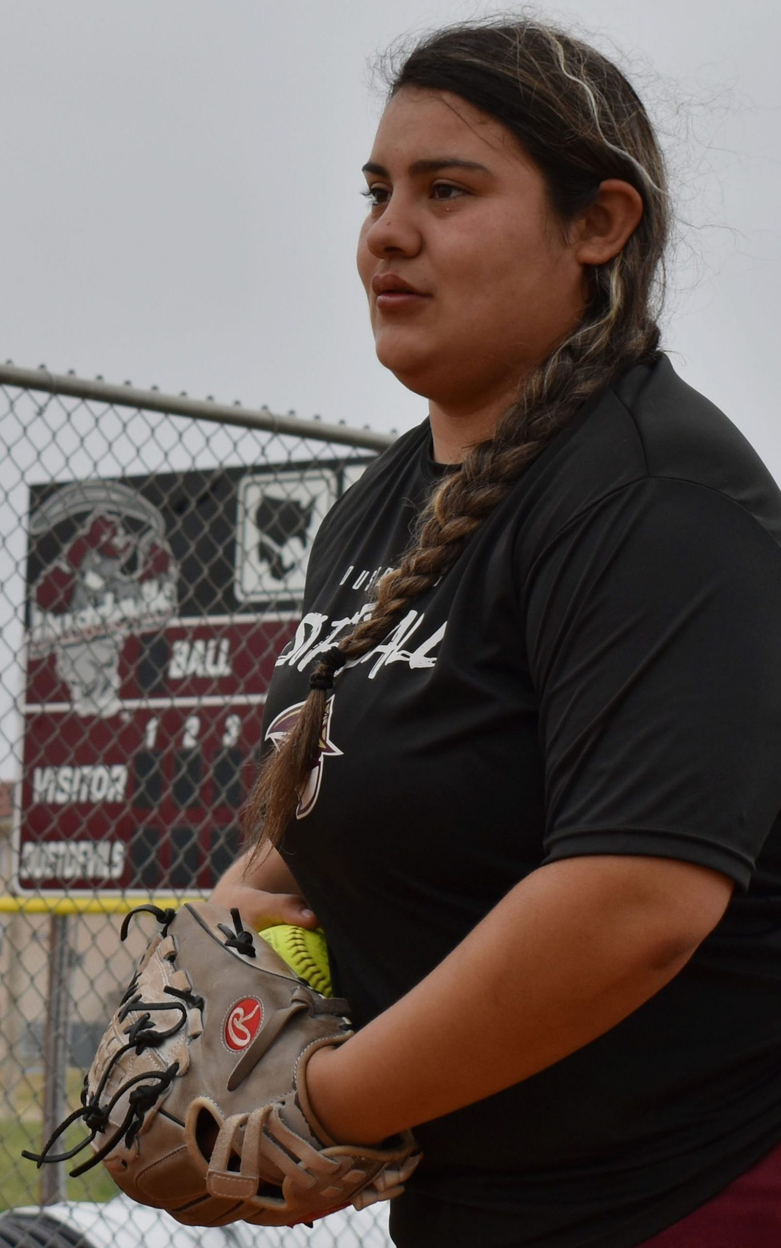 TAMIU pitcher Erika Cortez warms up.