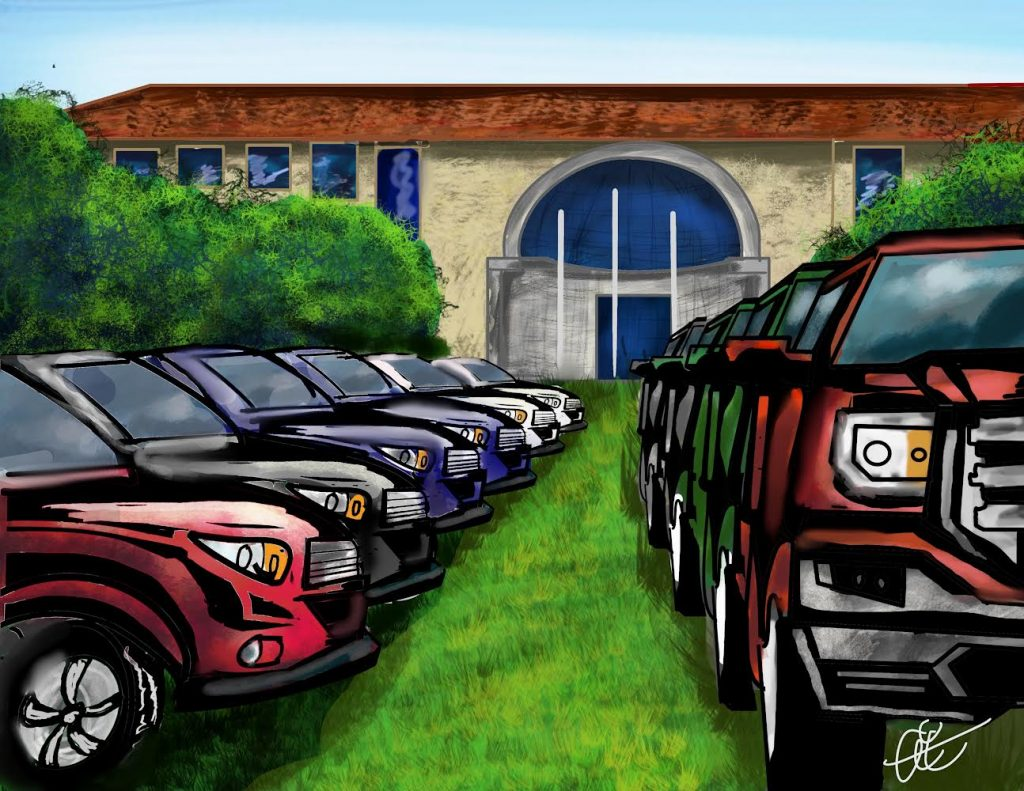 Illustration of student parking woes by Alejandro Carbajal